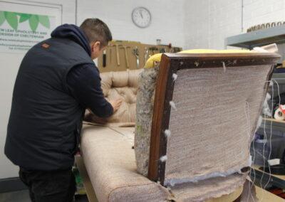 upholstering sofa
