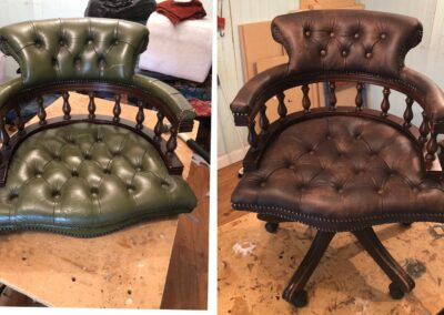 Before and after leather chair