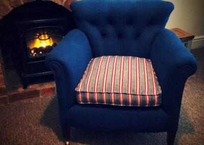 Velvet reupholstered chair